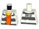 Part No: 973pb2283  Name: Torso Town Prisoner Number 86737, Dark Bluish Gray Stripes, Orange Shirt Pattern