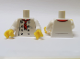 Part No: 973pb2335c01  Name: Torso Chef with 8 Buttons, Long Red Neckerchief, Light Bluish Gray Wrinkles and Back Print Pattern / White Arms / Yellow Hands