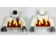 Part No: 973pb2472c01  Name: Torso Race Jacket with Flames and Aviation Airshow Logo Pattern / White Arms / Dark Bluish Gray Hands