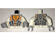Part No: 973pb2530c01  Name: Torso Nexo Knights Armor with Orange and Gold Circuitry and Gold Horse Head on Orange Pentagonal Shield Pattern / White Arms / Light Bluish Gray Hands