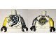 Part No: 973pb2547c01  Name: Torso Ninjago Robe with Exposed Mechanical Parts, Asian Character and Gold Lion on Back Pattern / Flat Silver Arm Left / Yellow Arm Right / Black Hands