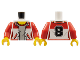 Part No: 973pb2626c01  Name: Torso Female Jacket Open over Gray Top with Red Collar with Number '8' on Back Pattern / Red Arms / Yellow Hands