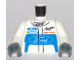 Part No: 973pb2635c01  Name: Torso Race Suit with Ford Logo and 'GT' on Front and Ford Logo and 'Powered by EcoBoost' on Back Pattern / White Arms / Dark Bluish Gray Hands