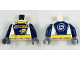 Part No: 973pb2684c01  Name: Torso Race Suit with 'GEAR' Racing Team Logo on Front and Gear on Back Pattern / Dark Blue Arms / Dark Bluish Gray Hands