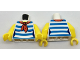 Part No: 973pb2734c01  Name: Torso Female Shirt with Red Scarf and 5 Dark Azure Stripes Pattern / Yellow Arms / Yellow Hands