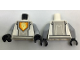 Part No: 973pb2744c01  Name: Torso Nexo Knights Armor, Silver Circuits, Light Bluish Gray Panel, Orange Emblem, Yellow Horse Head Pattern / Light Bluish Gray Arms / Black Hands