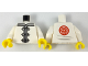 Part No: 973pb2803c01  Name: Torso Ninjago Robe with Gray Trim, White Frog Clasps and Red Flower Medallion and Light Bluish Gray Lines on Back Pattern / White Arms / Yellow Hands
