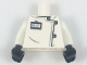 Part No: 973pb2934c01  Name: Torso Lab Coat with Black and Silver Clasps, ID Badge Pattern / White Arms / Black Hands
