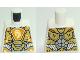Part No: 973pb3047  Name: Torso Nexo Knights Armor, Metallic Gold Panels, Orange Emblem, Yellow Horse Head Pattern