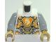 Part No: 973pb3047c01  Name: Torso Nexo Knights Armor, Metallic Gold Panels, Orange Emblem, Yellow Horse Head Pattern / Light Bluish Gray Arms / Pearl Gold Hands