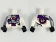 Part No: 973pb3062c01  Name: Torso Ninjago Robe with Purple Sash with Knot, Mechanical Parts and Silver Saw Blade Pattern / White Arm Left / Flat Silver Arm Right / Black Hands