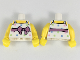 Part No: 973pb3072c01  Name: Torso Female Top with Straps, Medium Lavender Belt with Bow, Bright Colored Squares Pattern / Yellow Arms / Yellow Hands