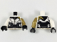 Part No: 973pb3105c01  Name: Torso Female Armor, Black Collar and Midriff, Silver Contours, Pearl Gold Left Shoulder Pattern / Pearl Gold Arm Left / White Arm Right / Black Hands