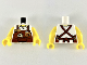 Part No: 973pb3450c01  Name: Torso Reddish Brown Apron with Cup, 'LARRY' Name Tag, Straps Pattern / Yellow Arm Left / Yellow Arm Right with Black Tattoo Pattern / Yellow Hands