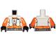 Part No: 973pb3496c01  Name: Torso SW Pilot, Orange Jumpsuit with White Vest and Front Panel, Black Rebel Logo Pattern / Orange Arms / Black Hands