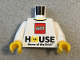 Part No: 973pb3531c01  Name: Torso LEGO Logo 'HOUSE Home of the Brick' Pattern / White Arms / Yellow Hands