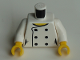 Part No: 973pb3637c01  Name: Torso Female Chef with 6 Black Buttons and Yellow Neck, 'LEGO HOUSE Home of the Brick' on Back Pattern / White Arms / Yellow Hands