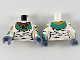 Part No: 973pb3654c01  Name: Torso Female Scarab Collar and Bandage Wrappings Pattern / White Arms with Wrappings, Gold and Dark Turquoise Bracelets Pattern / Sand Blue Hands