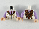 Part No: 973pb3696c01  Name: Torso Robe with Reddish Brown and Dark Tan Tie and Lapels, Lavender Shirt Pattern / Lavender Arms / Light Flesh Hands