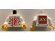 Part No: 973pb3703c01  Name: Torso LEGO World 2019 with Splash of Colors, Stars and Number 19 Pattern / White Arms / Yellow Hands