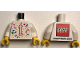 Part No: 973pb3704c01  Name: Torso LEGO World 2019 with Splash of Colors, Stars and Number 1 Pattern / White Arms / Yellow Hands