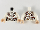 Part No: 973pb3985c01  Name: Torso Female Button-Up, Tan and Reddish Brown Leaves Pattern / White Arms / Light Nougat Hands