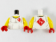 Part No: 973pb4148c01  Name: Torso Shirt, Yellow Neck, Red Diamond with White Ninjago Logogram 'VS' on Lapel and Back Pattern / Yellow Arms / Red Hands