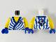 Part No: 973pb4159c01  Name: Torso Tunic, Yellow Chest, Blue Hem, Stripes and Ninjago Logogram 'VS' in Dark Blue Diamond Pattern / Yellow Arms / Blue Hands