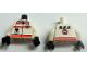 Part No: 973px101c01  Name: Torso Res-Q Orange Stripes, Radio in Pocket, Back Logo Pattern / White Arms / Black Hands