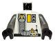 Part No: 973px133c01  Name: Torso Space Exploriens Logo, Yellow Accents, Silver Hose Pattern / Dark Gray Arms / Black Hands