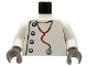 Part No: 973px166c01  Name: Torso Studios Lab Coat, Gray Buttons, Stethoscope Pattern (Mad Scientist) / White Arms / Dark Gray Hands