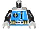 Part No: 973px170c01  Name: Torso Aquazone Aquanaut Sub Logo, Zipper, and Weight Belt Pattern / Black Arms / White Hands