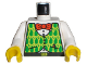 Part No: 973px180c01  Name: Torso Adventurers Orient Shirt, Green Vest, and Red Bow Tie Pattern / White Arms / Yellow Hands
