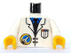Part No: 973px24c01  Name: Torso Space Port Logo Lab Coat, Tie and Pocket Pattern / White Arms / Yellow Hands