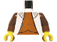 Part No: 973px303c01  Name: Torso SW Vest with Dark Orange Shirt Pattern (Leia) / Brown Arms / Yellow Hands
