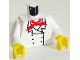 Part No: 973px3c01  Name: Torso Chef with 6 Buttons, Short Red Neckerchief Pattern / White Arms / Yellow Hands