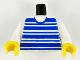 Part No: 973px61c02  Name: Torso Horizontal Blue Stripes Pattern / White Arms / Yellow Hands