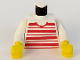 Part No: 973px62c02  Name: Torso Horizontal Red Stripes Pattern / White Arms / Yellow Hands