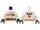 Part No: 973px79c01  Name: Torso Res-Q Orange Stripes, 15 on Belt and Back Logo Pattern / White Arms / Black Hands
