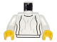 Part No: 973px86c01  Name: Torso SW Loose Dress Light Gray Folds Pattern (Leia) / White Arms / Yellow Hands