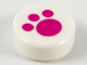 Part No: 98138pb120  Name: Tile, Round 1 x 1 with Magenta Paw Print Pattern