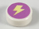 Part No: 98138pb123  Name: Tile, Round 1 x 1 with Bright Light Yellow Lightning Bolt on Medium Lavender Background Pattern