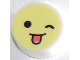 Part No: 98138pb129  Name: Tile, Round 1 x 1 with Emoji, Bright Light Yellow Face, Wink, and Tongue Sticking Out Pattern