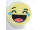 Part No: 98138pb130  Name: Tile, Round 1 x 1 with Emoji, Bright Light Yellow Face, Laughing, Tears, and Open Mouth with Tongue Pattern