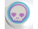 Part No: 98138pb132  Name: Tile, Round 1 x 1 with Skull Face with Heart Eyes in Medium Azure Circle Pattern