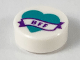 Part No: 98138pb147  Name: Tile, Round 1 x 1 with Dark Turquoise Heart and Banner with Dark Purple 'BFF' Pattern