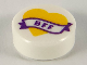 Part No: 98138pb148  Name: Tile, Round 1 x 1 with Bright Light Orange Heart and Banner with Dark Purple 'BFF' Pattern