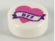 Part No: 98138pb149  Name: Tile, Round 1 x 1 with Dark Pink Heart and Banner with Dark Purple 'BFF' Pattern