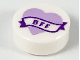 Part No: 98138pb150  Name: Tile, Round 1 x 1 with Lavender Heart and Banner with Dark Purple 'BFF' Pattern