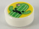 Part No: 98138pb153  Name: Tile, Round 1 x 1 with Bright Green Cactus with Black Moustache on Yellow Background Pattern